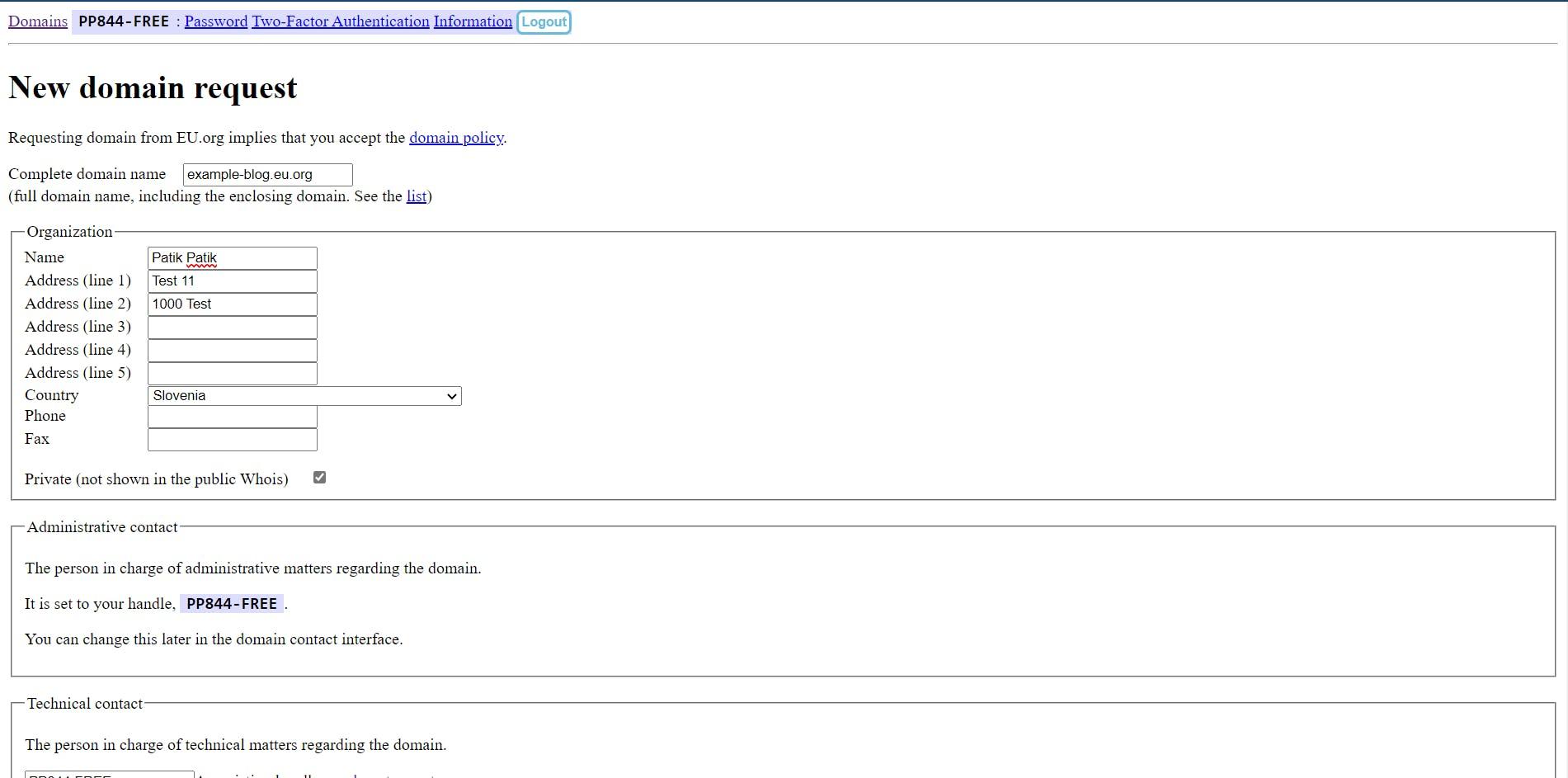 Create new domain form