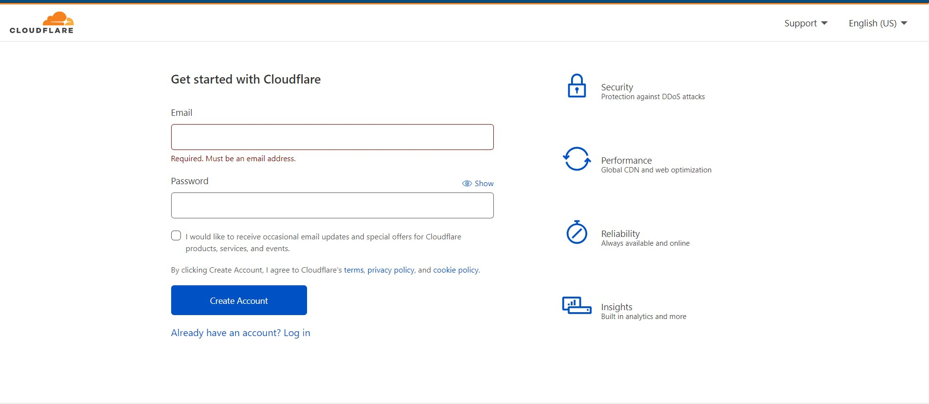 Cloudflare register page