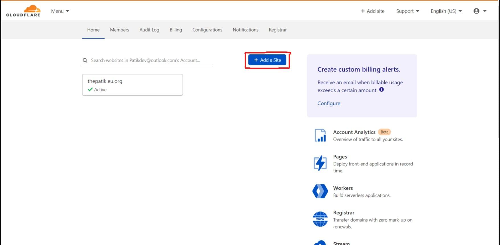 Add site button click