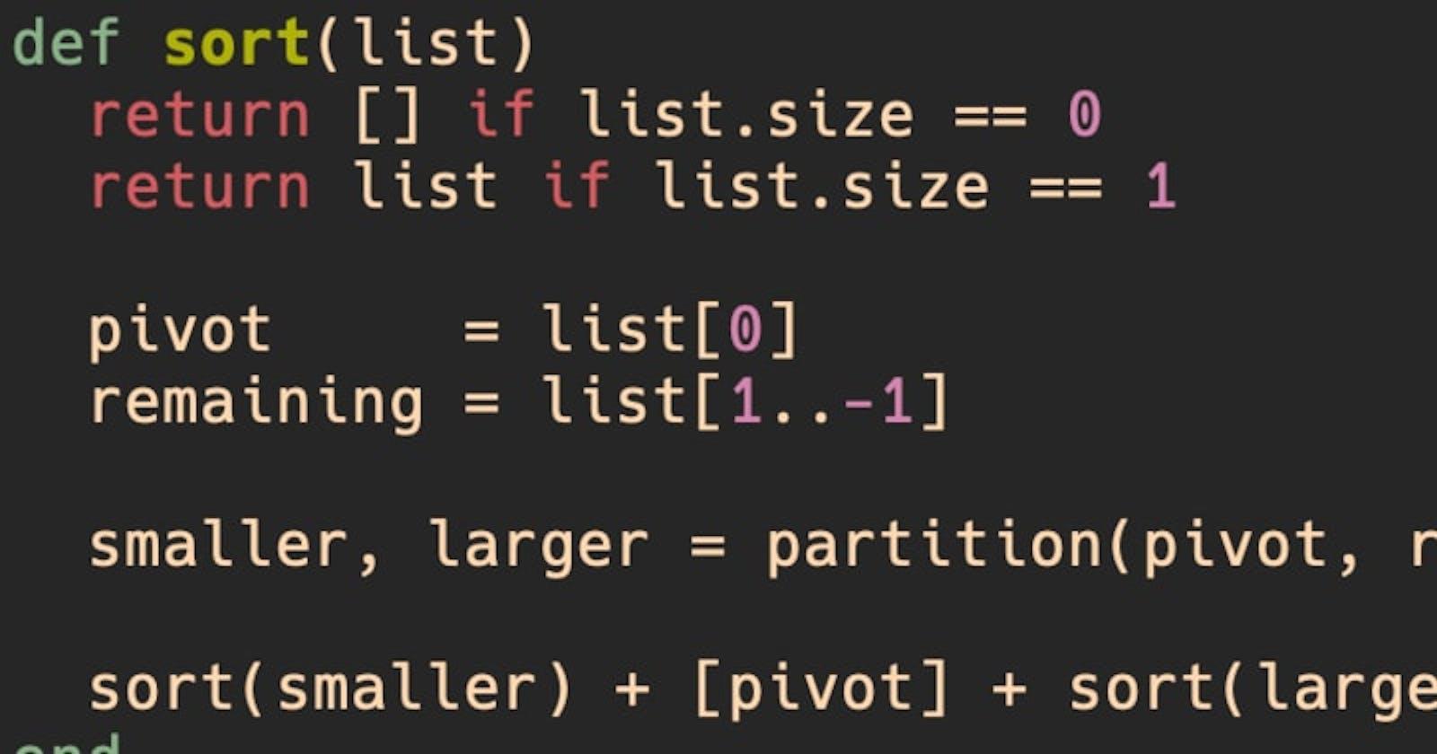 Quicksort, a Ruby implementation using Test-driven development