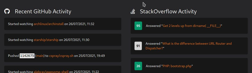 Activity Feed for my recent GitHub and StackOverflow activity