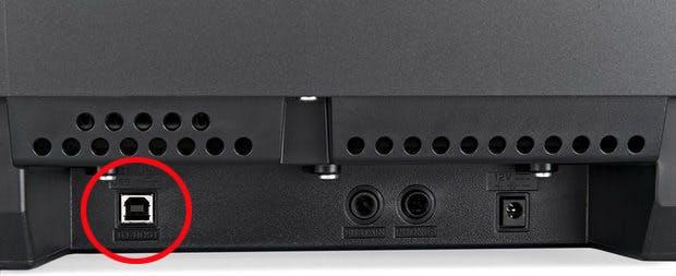 Yamaha P-45 digital piano ports on back panel