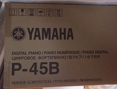 Yamaha P-45 piano model name on box