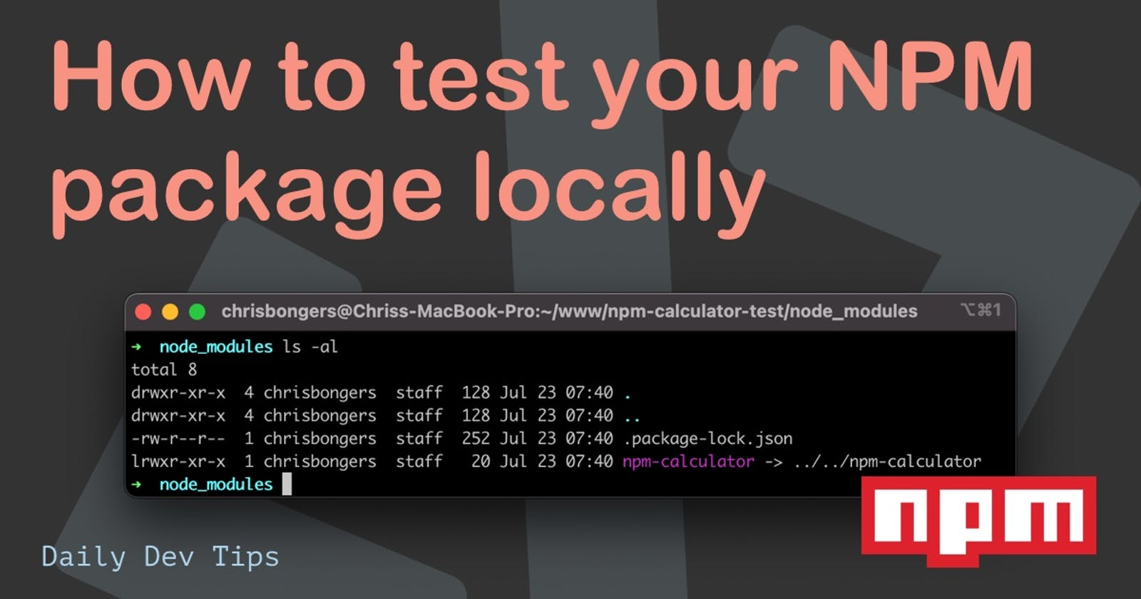 How to test your NPM package locally