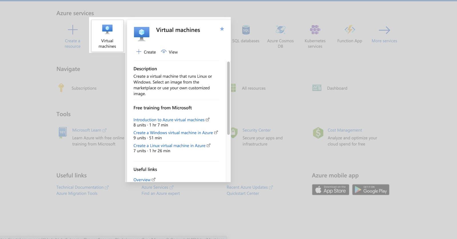 How to create a Virtual Machine in Azure ?