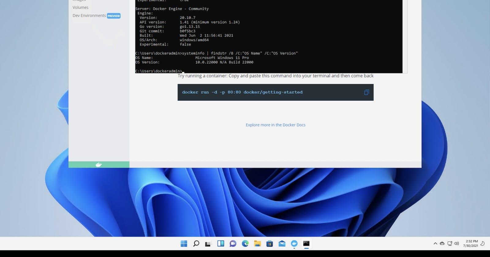 Docker Desktop on Windows 11