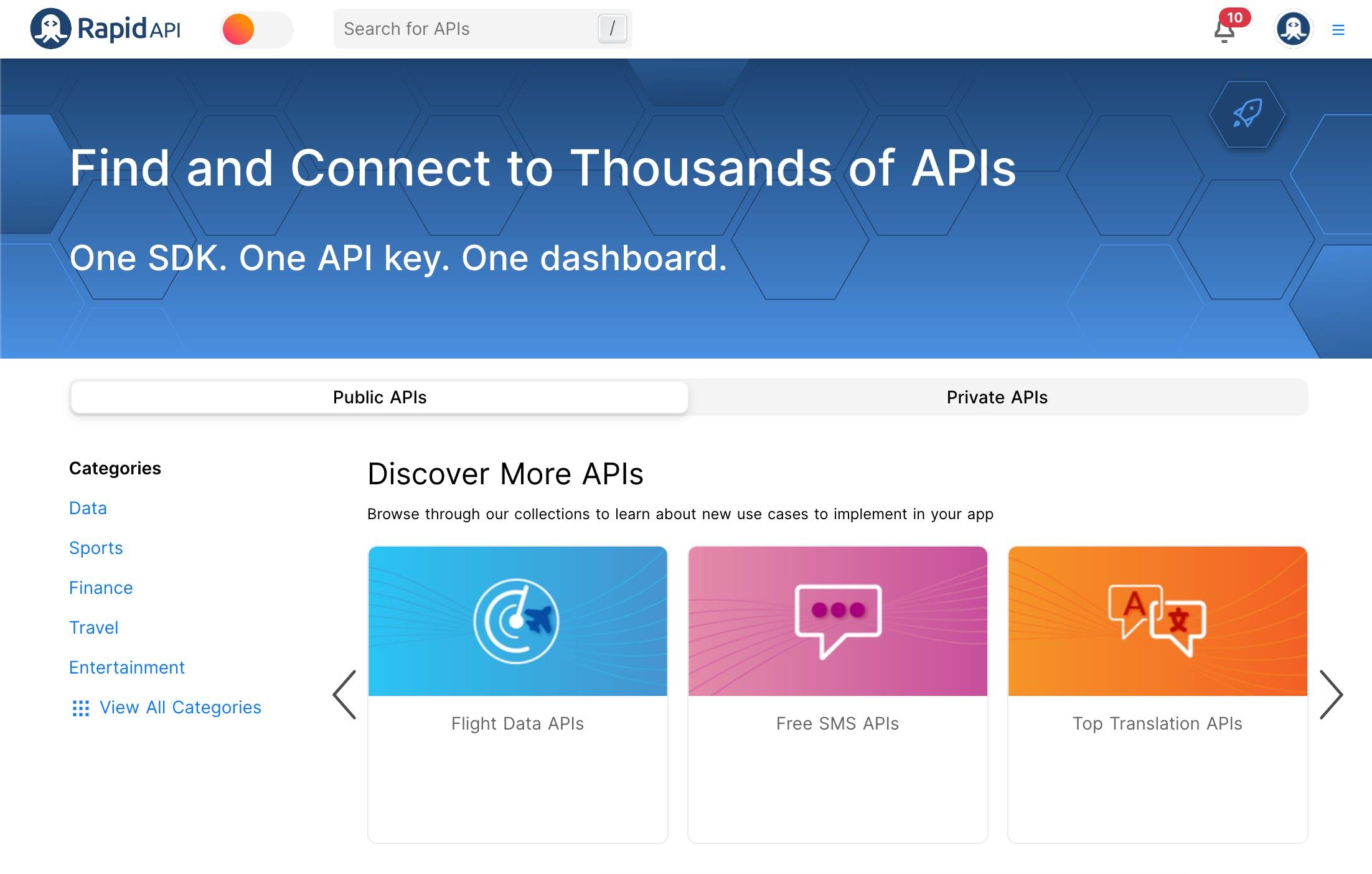Screenshot of RapidAPI webpage