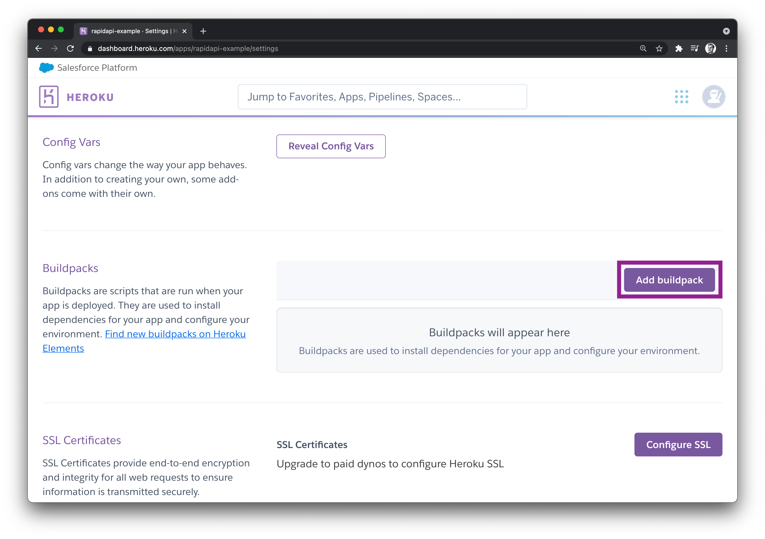 Add buildpack button on Heroku