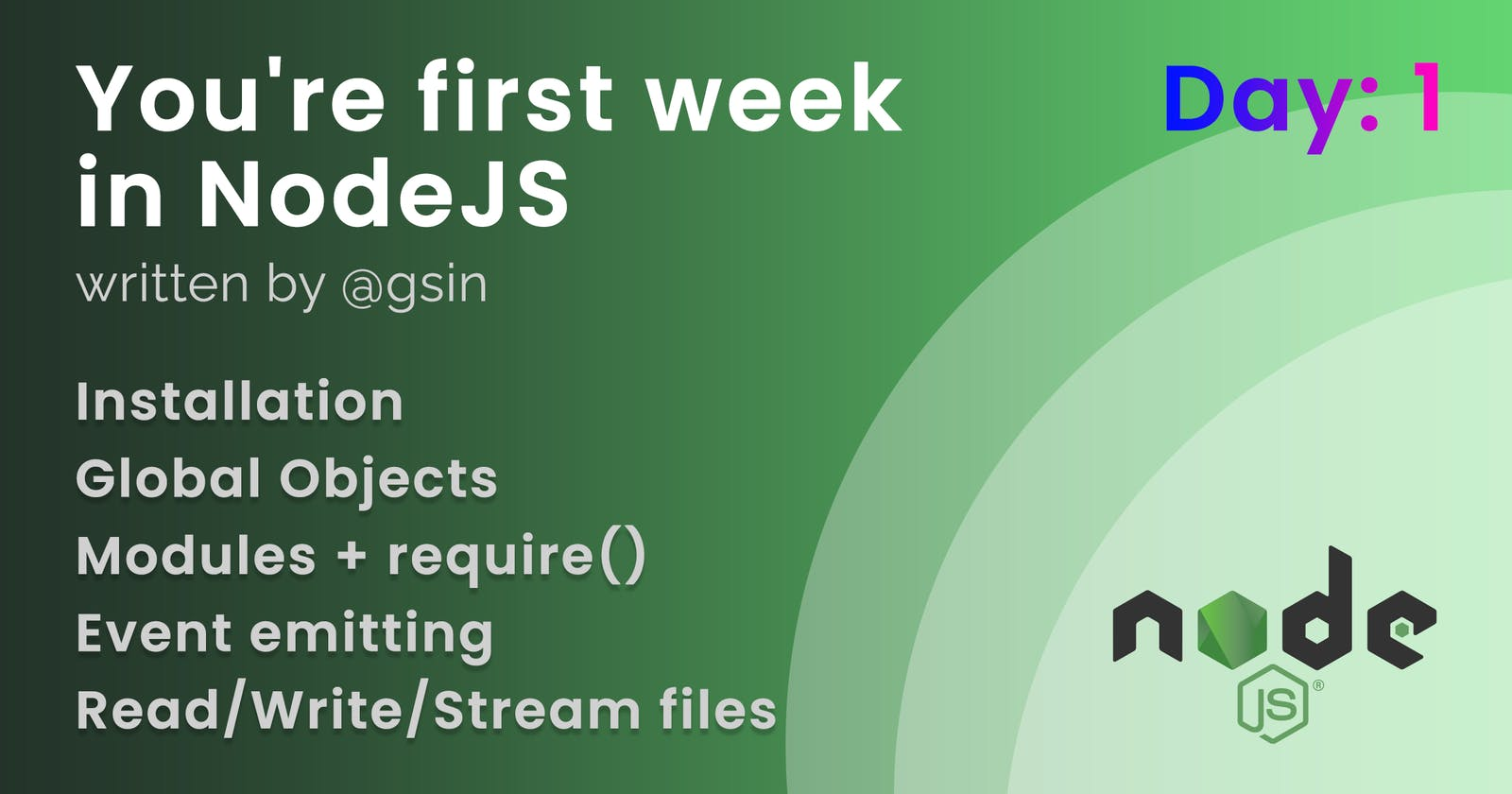 Day 1 - Your first week in NodeJS