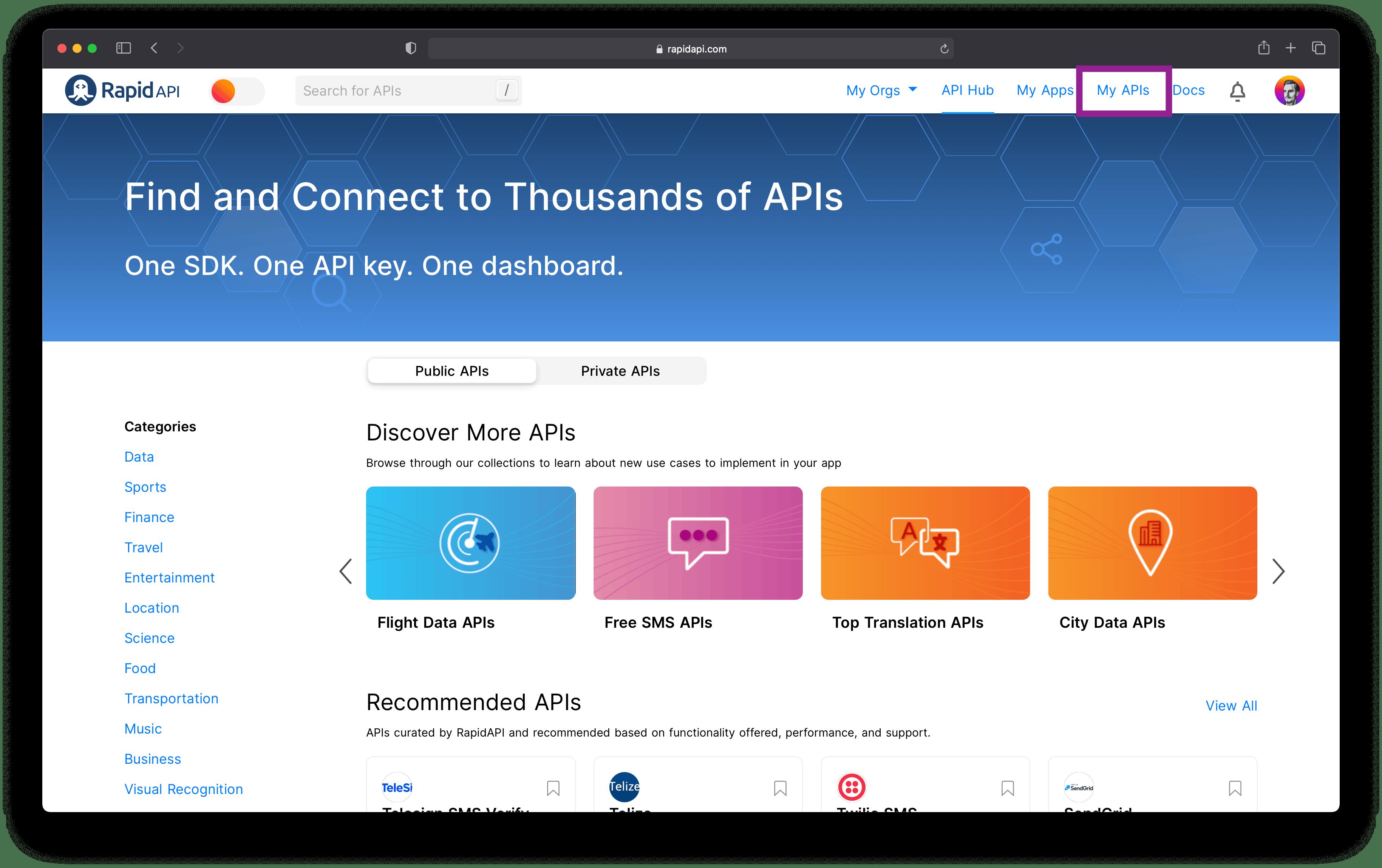 RapidAPI Hub Homepage