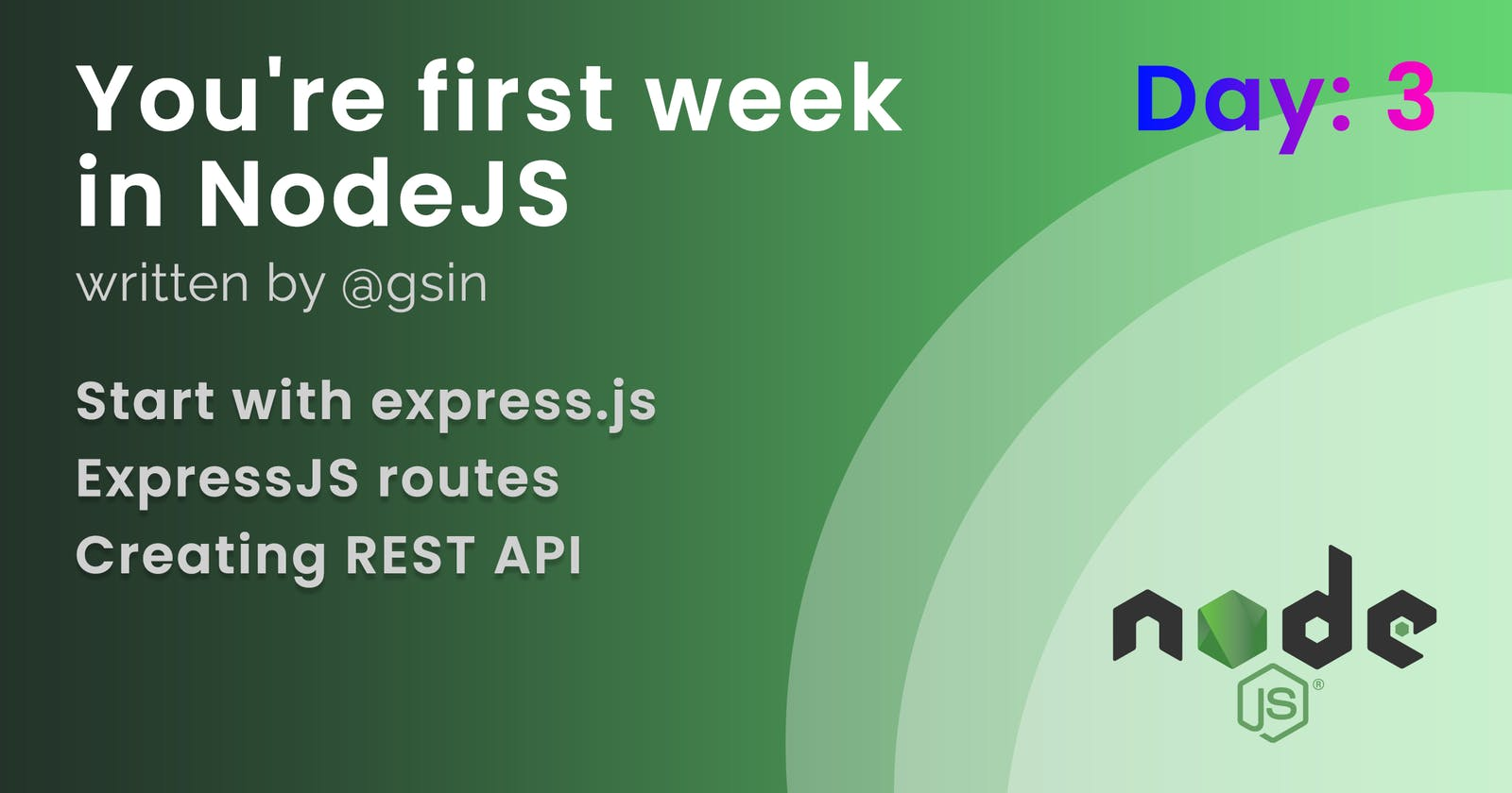 Day 3 - Your first week in NodeJS