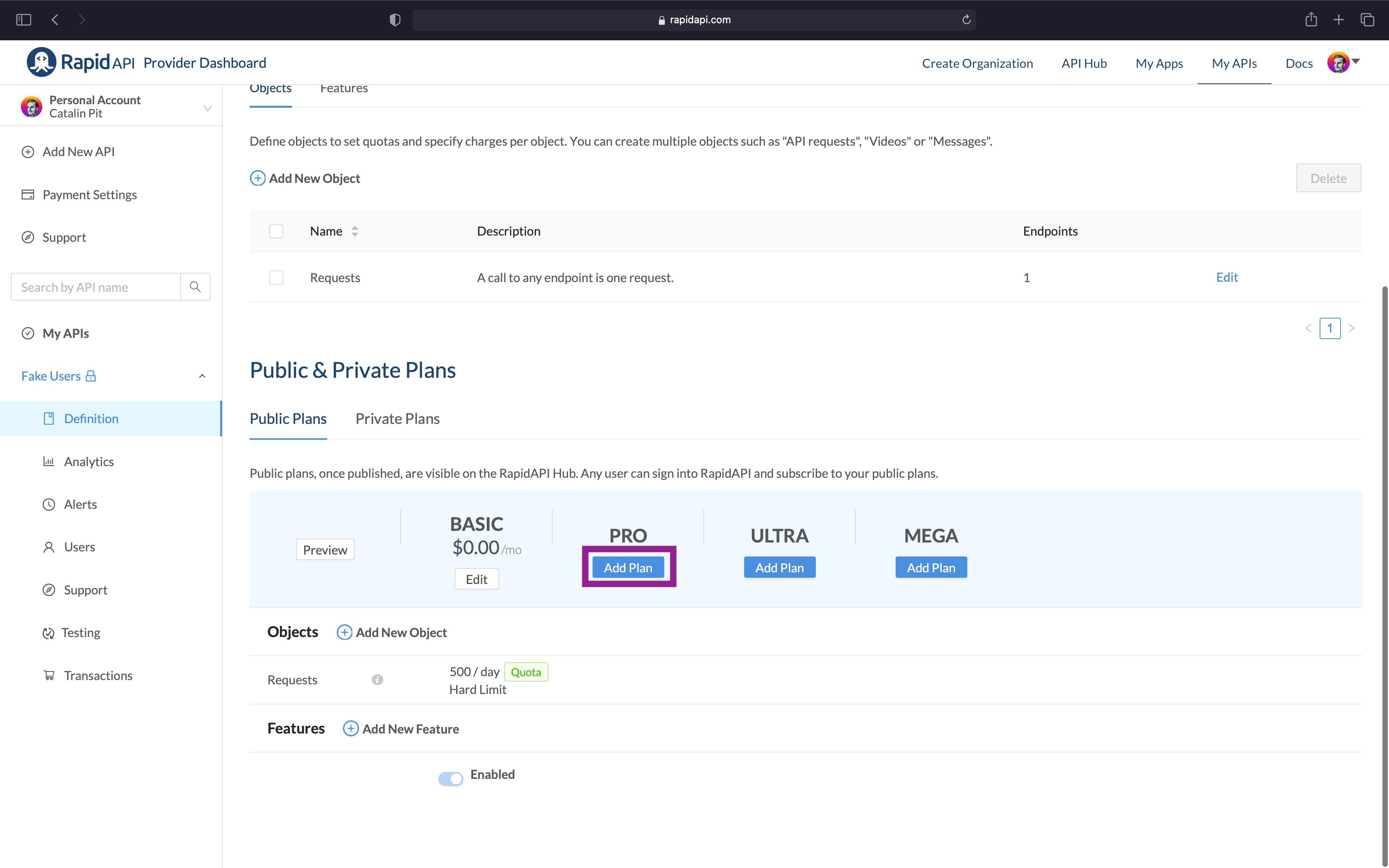 RapidAPI Provider Dashboard Public and Private Plans