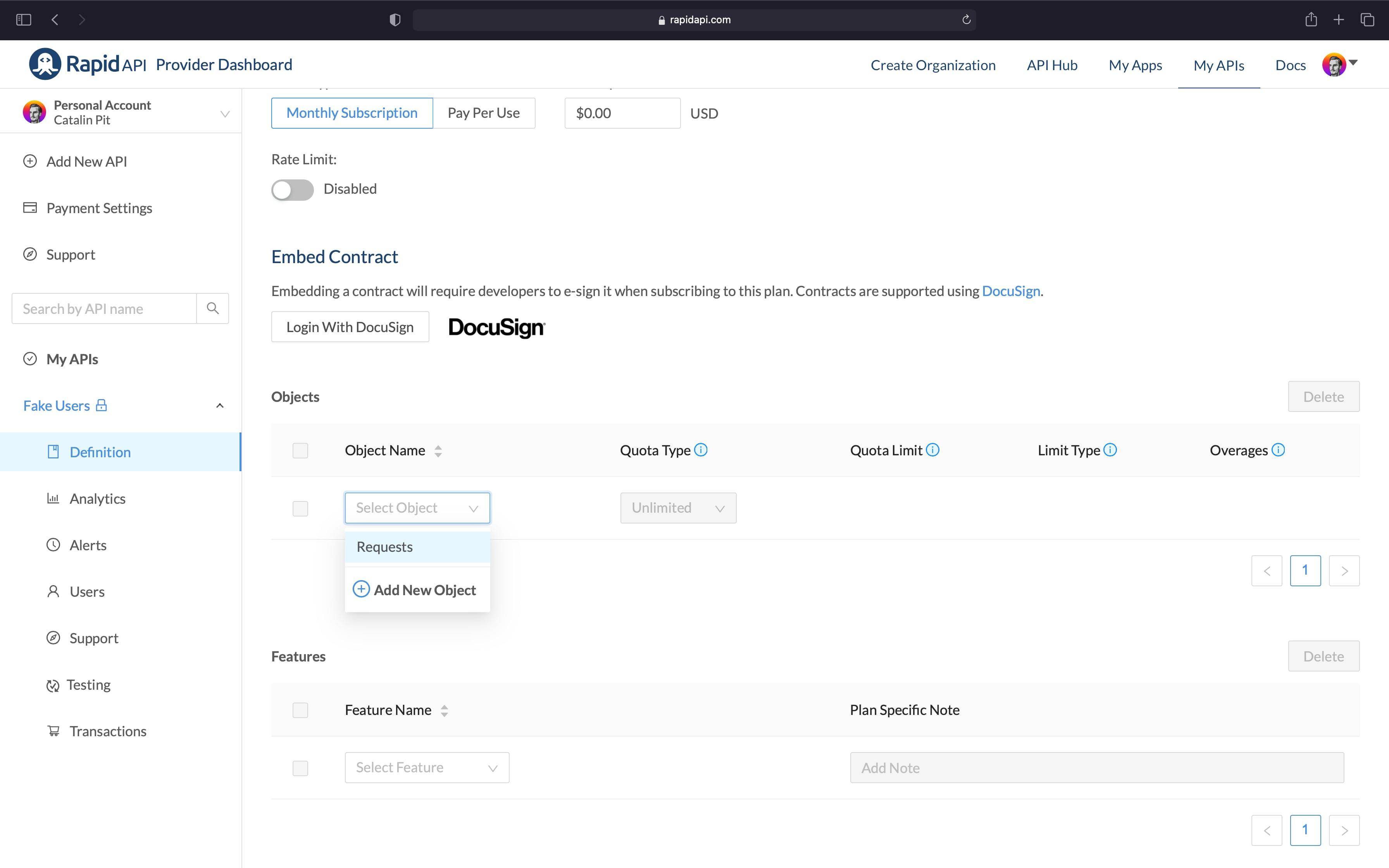 Setting the Pro Plan in RapidAPI Dashboard