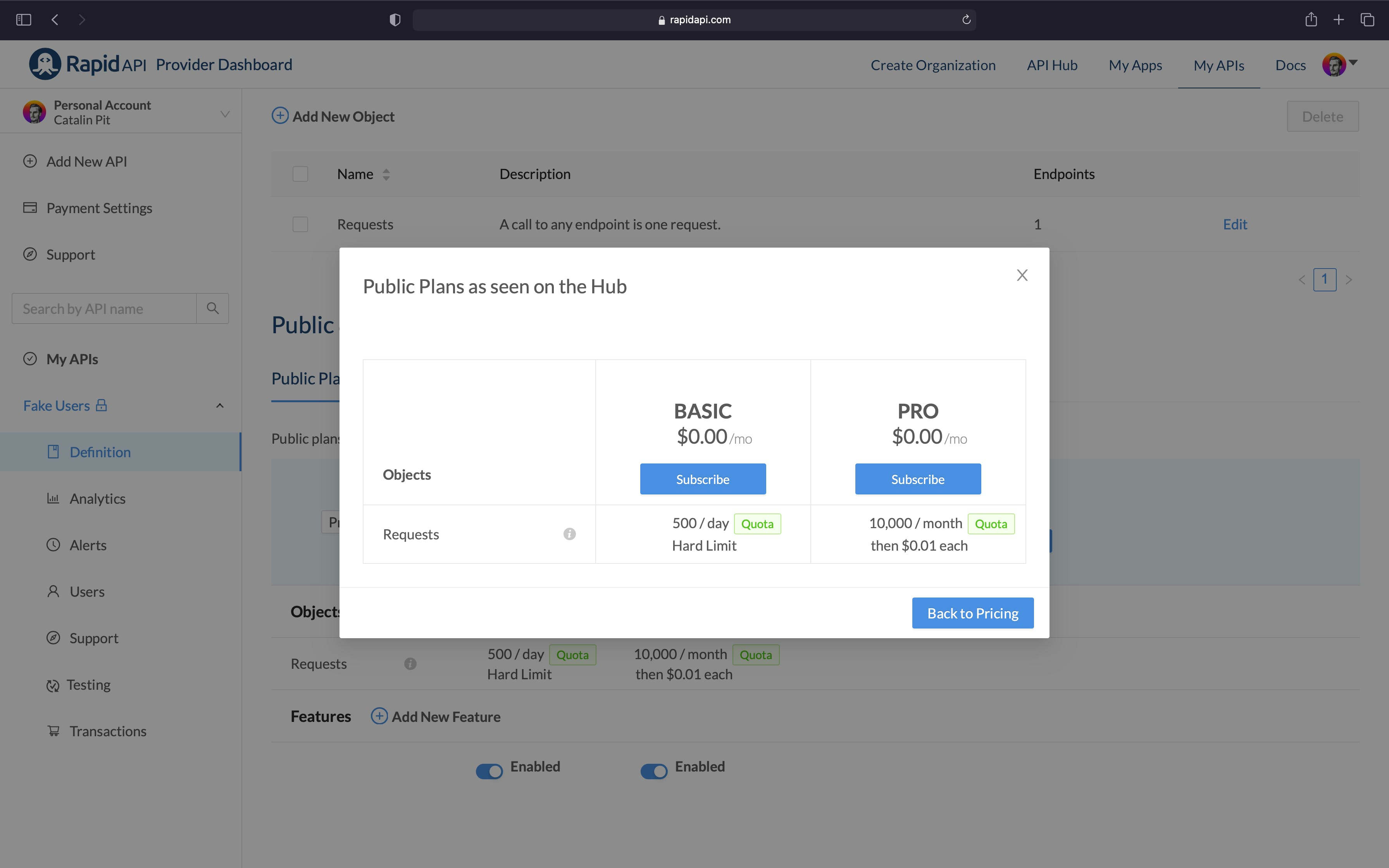 Plans Preview in RapidAPI Dashboard