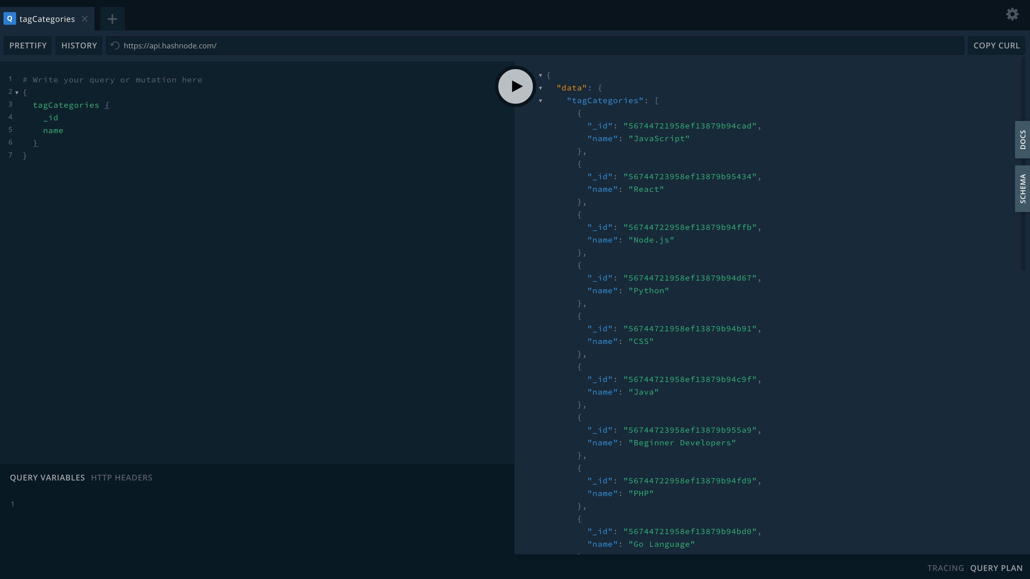 Screen Shot of Hashnode API playground