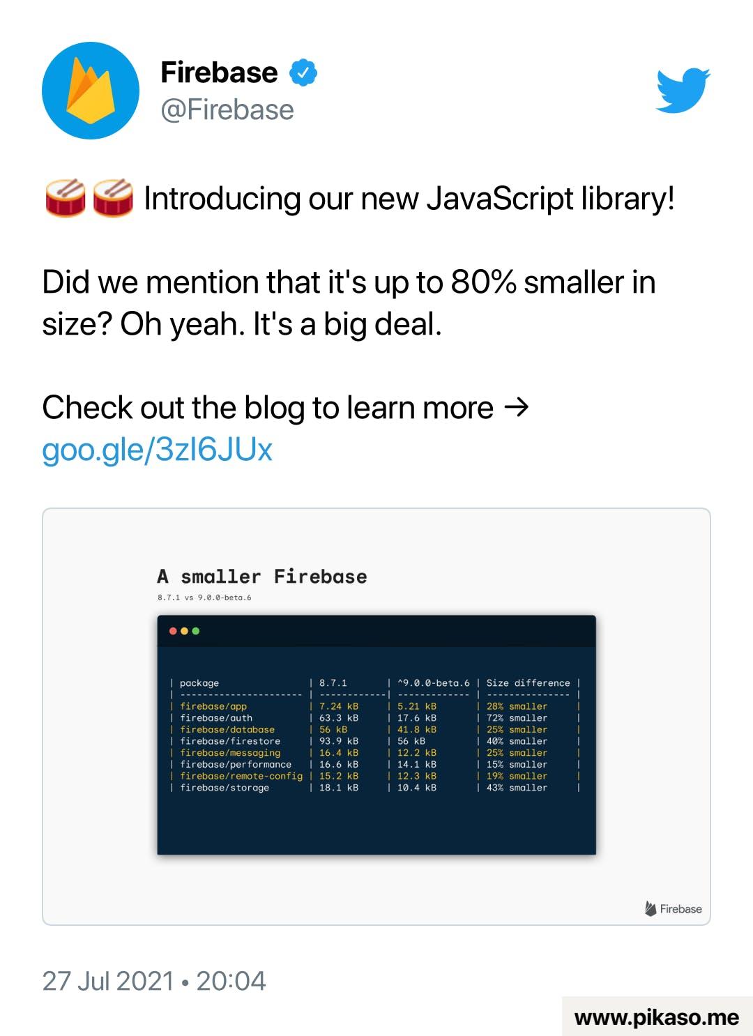 Firebase Twitter announcement