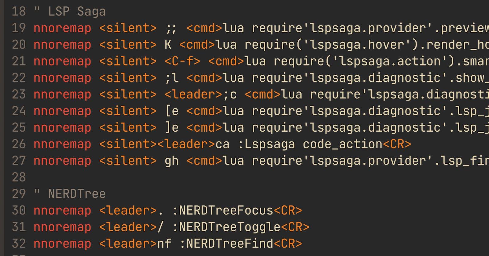 Neovim LSP commands, LSP Saga configuration and functionalities