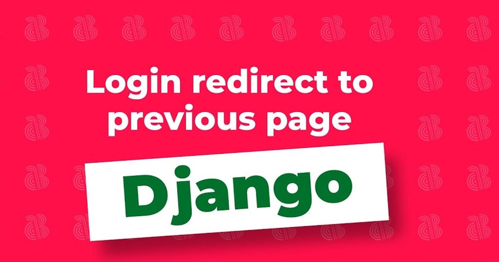 Django Login Redirect