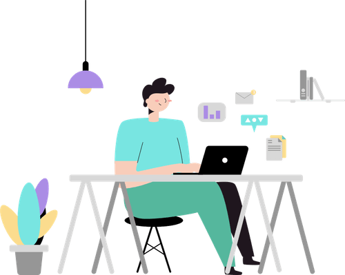 Vector Illustration of a person working on the laptop