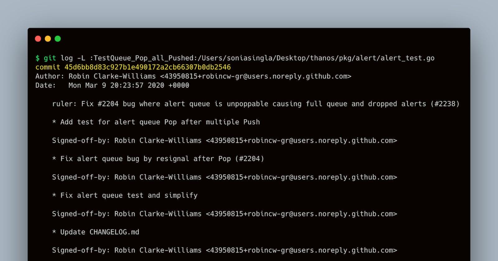 Git - Tracking method/function history