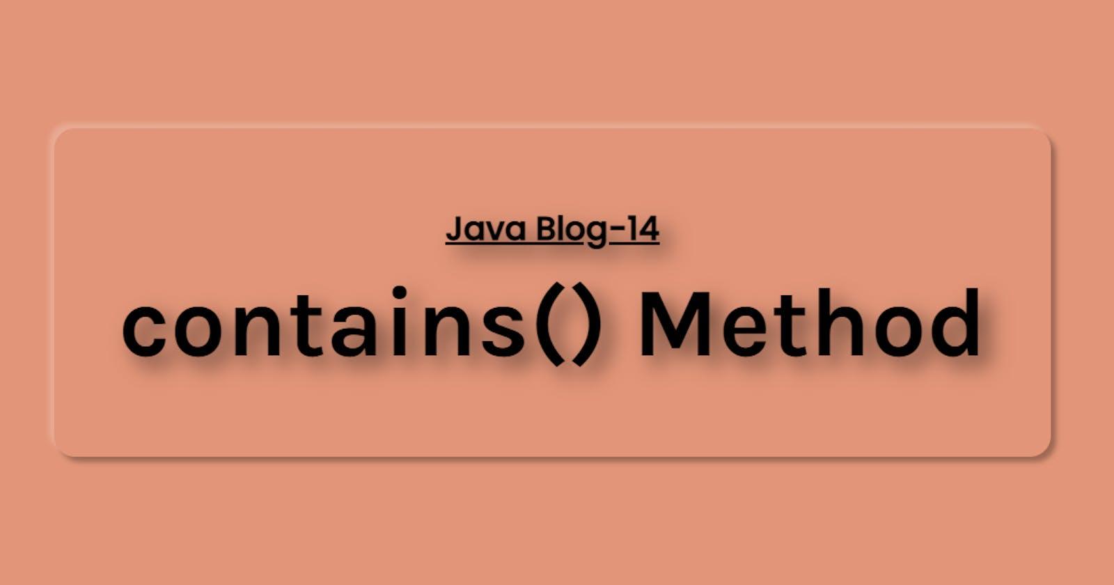 Java contains() method