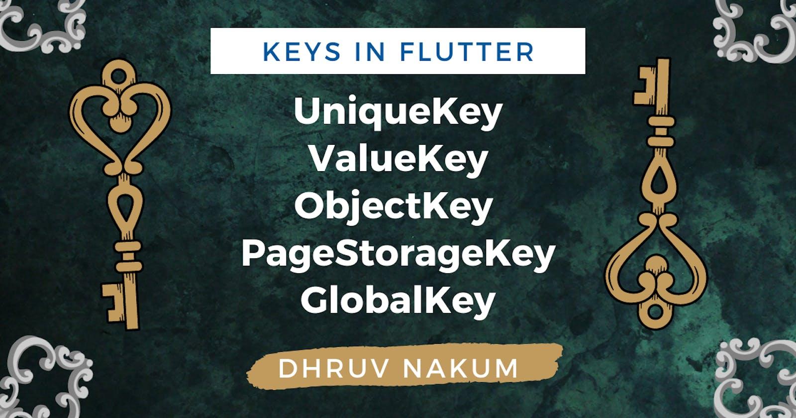 Keys In Flutter - UniqueKey, ValueKey, ObjectKey, PageStorageKey, GlobalKey