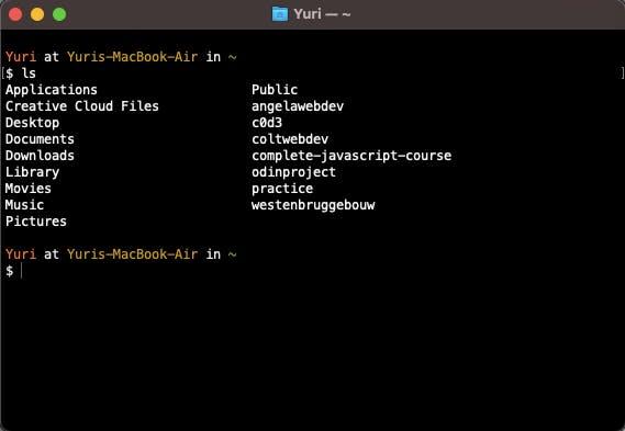 list all directories/files inside `~`