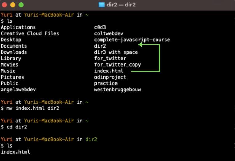 move html file to folder `dir2`