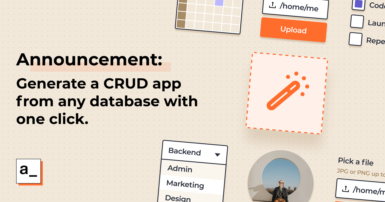 Generate a CRUD app from any database with one click!