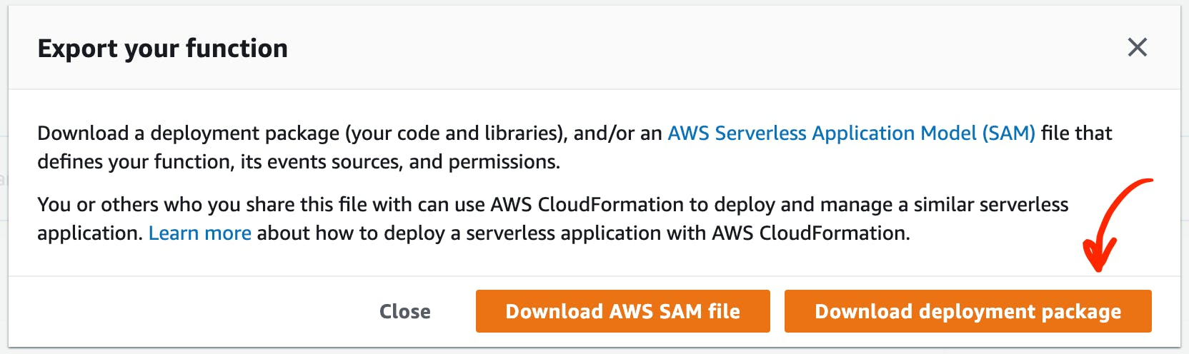 Download deployment package for lambda