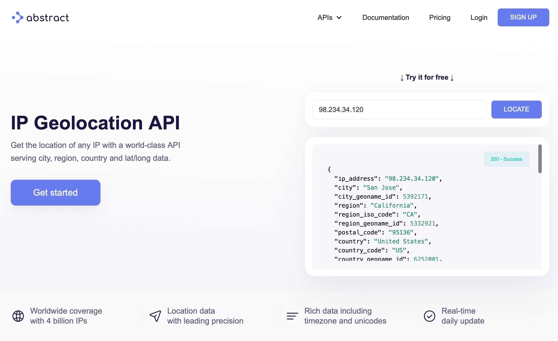 IP geolocation API]