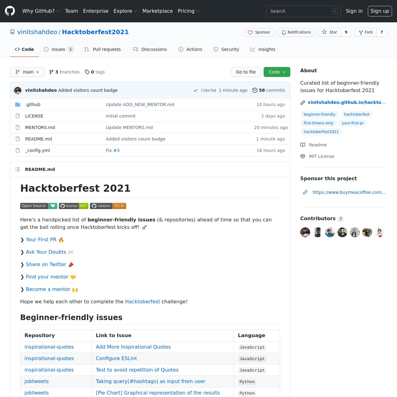 GitHub - vinitshahdeo_Hacktoberfest2021_ Curated list of beginner-friendly issues for Hacktoberfest 2021