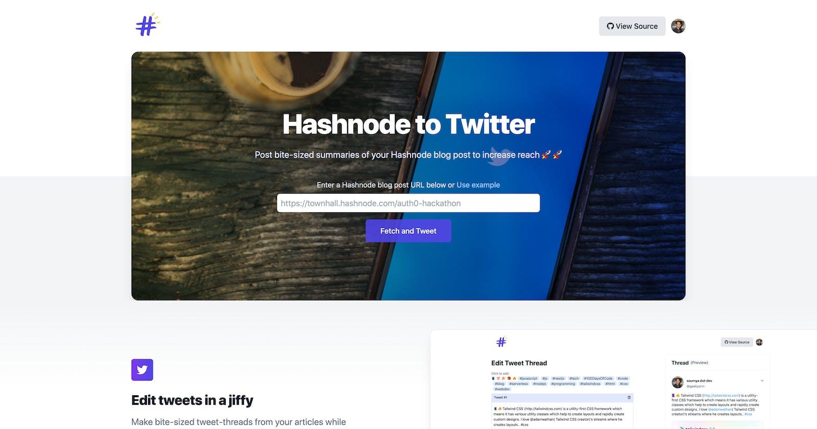 Introducing Hashnode to Twitter