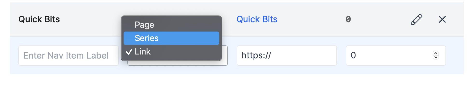 Example of navigation bar item