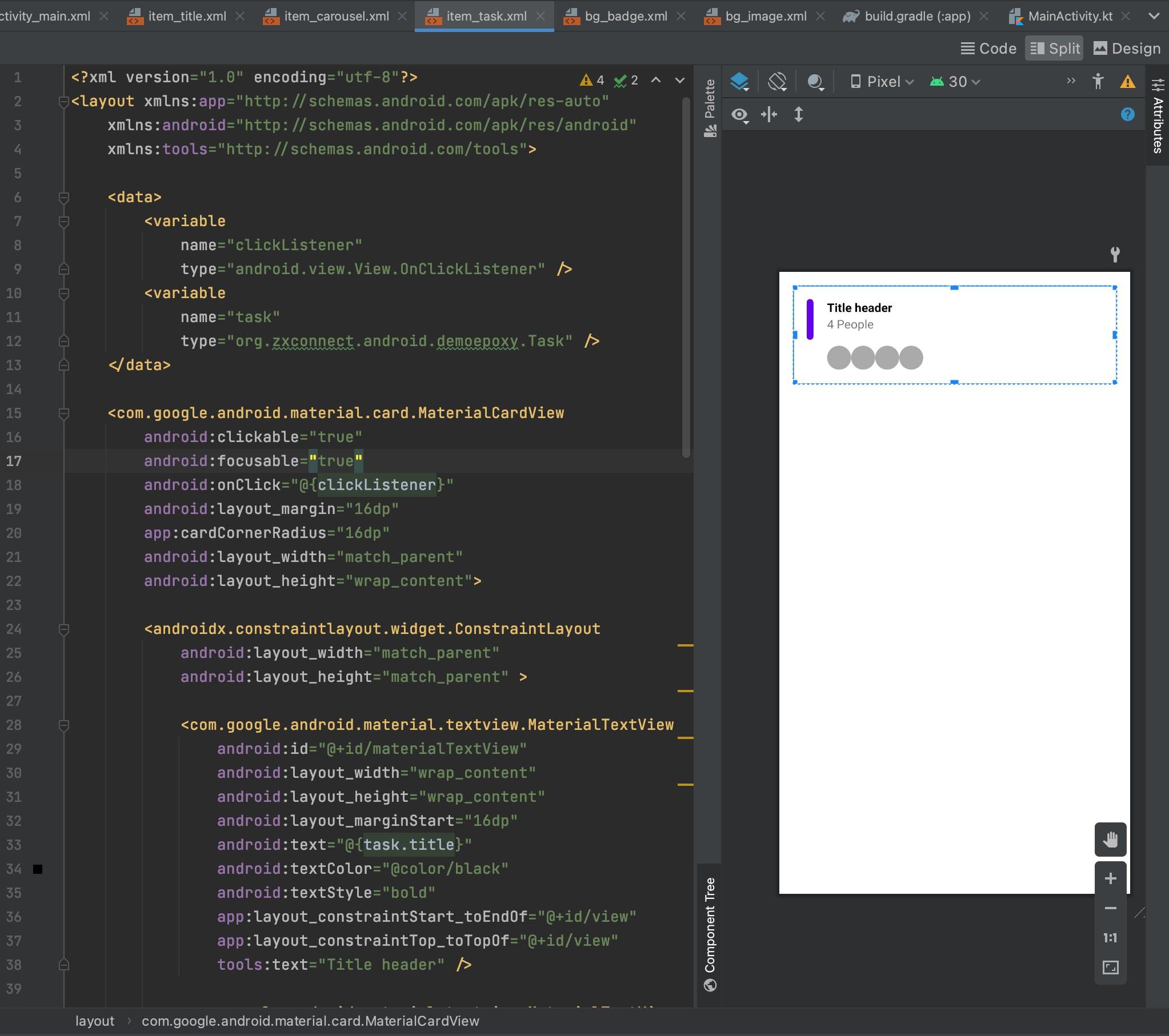 item_task.xml Preview