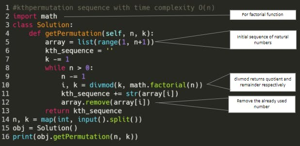 Kth permutation sequence