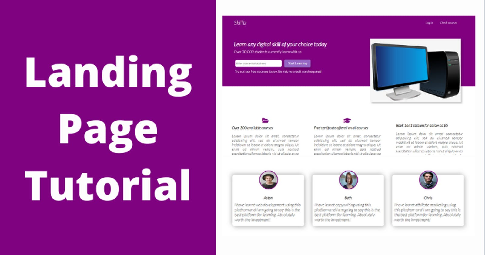 CSS Tutorial – Build a landing page using just HTML and CSS featuring Flexbox and Grid.