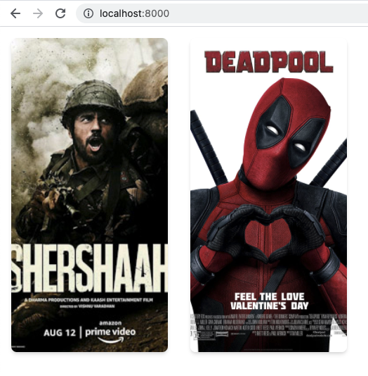 Rendered movies in our frontend