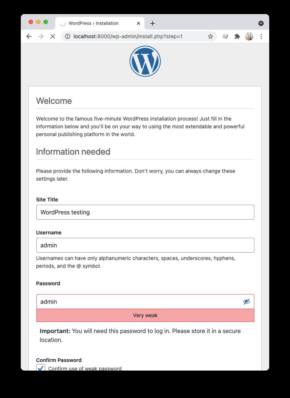 WordPress admin user creation