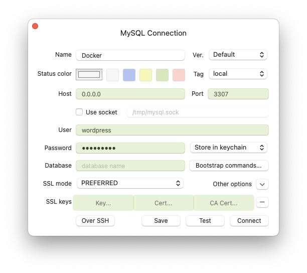 MySQL connection to Docker WordPress database