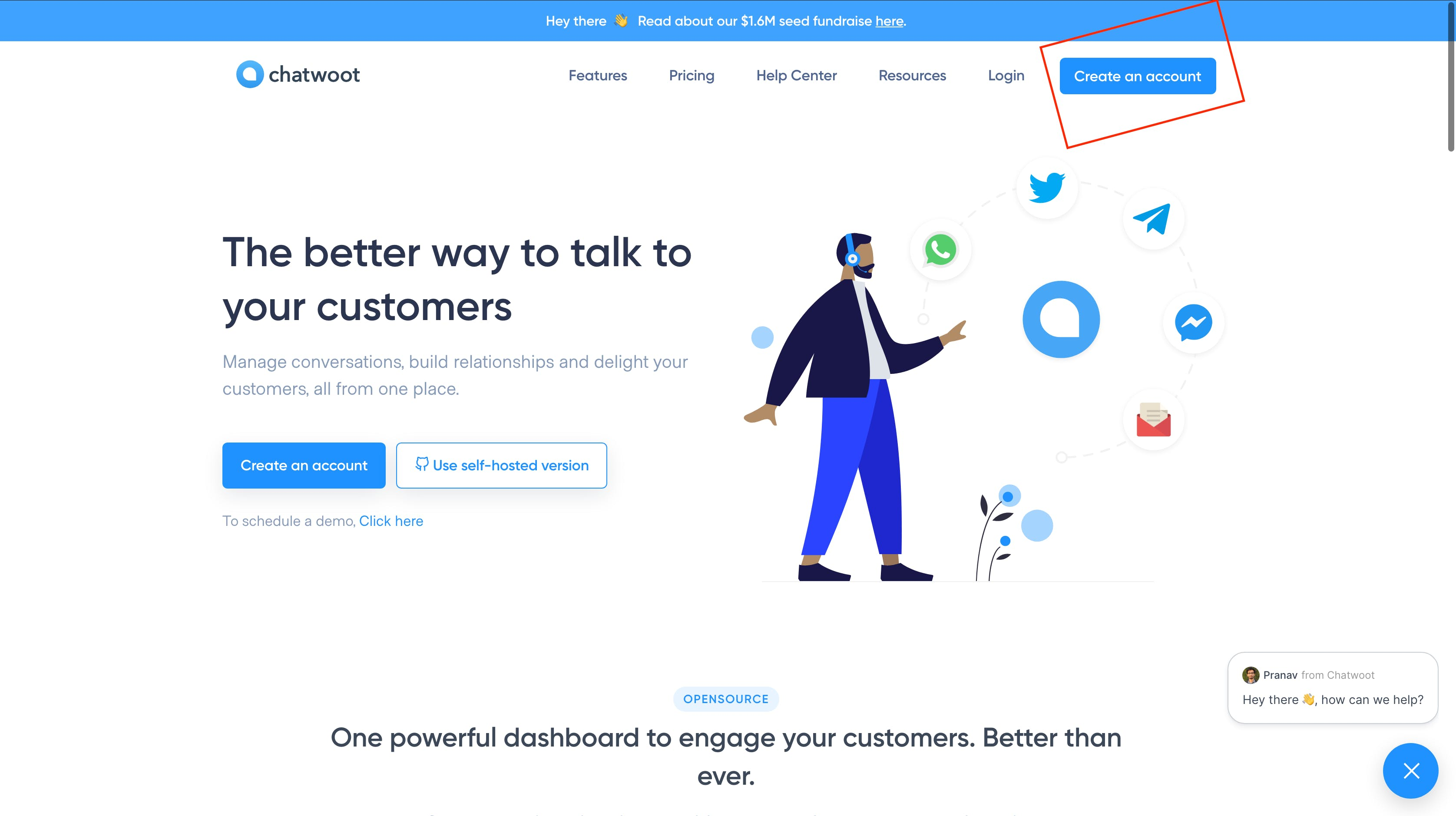 Chatwoot Landing Page