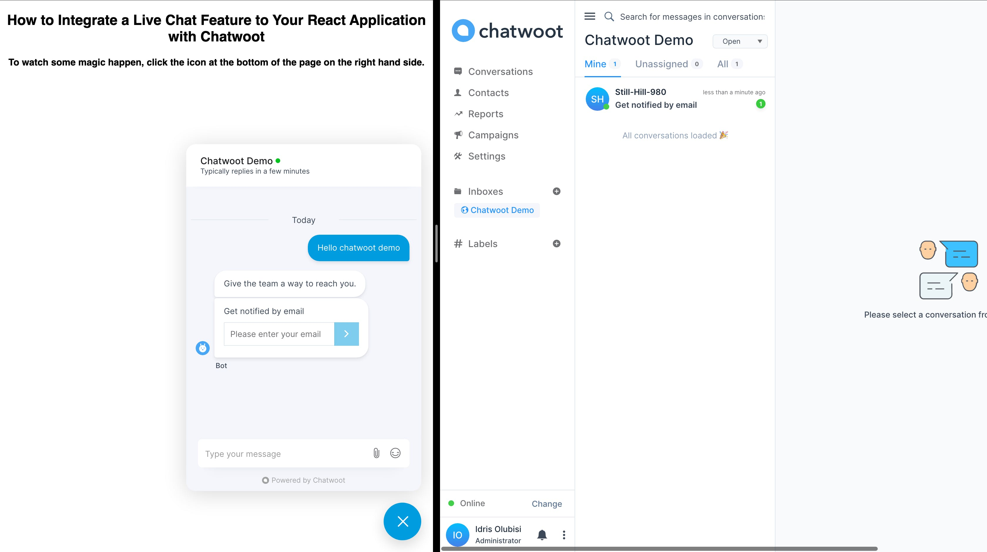 Chatwoot chat