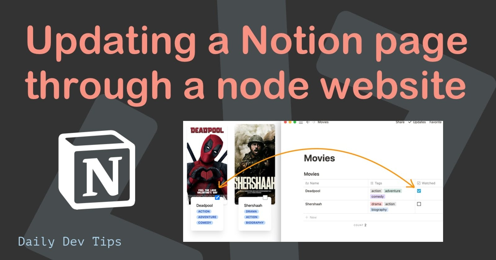 Updating a Notion page through a node website
