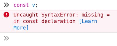 declaring const variable with no value.