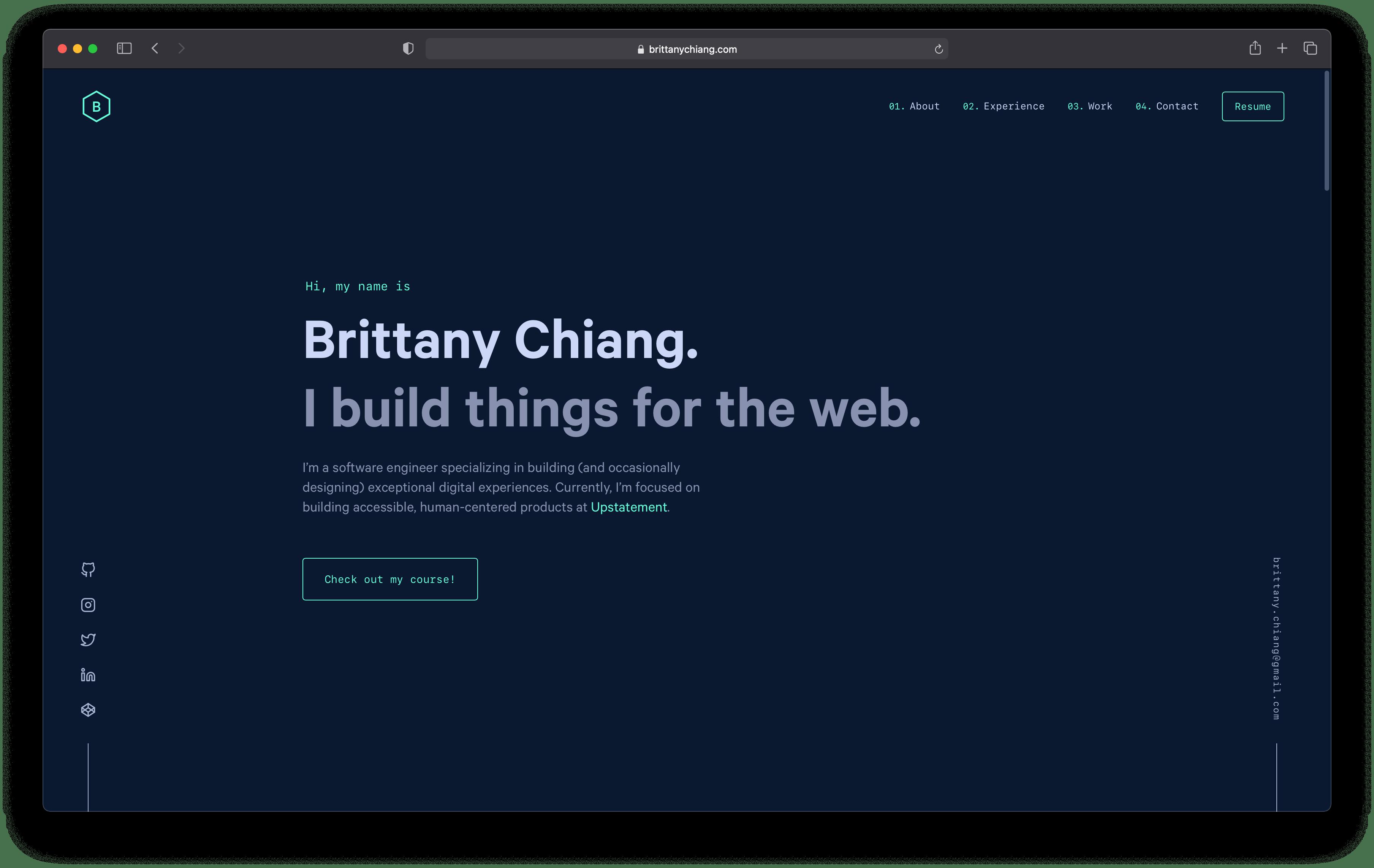 A screenshot of brittanychiang.com website