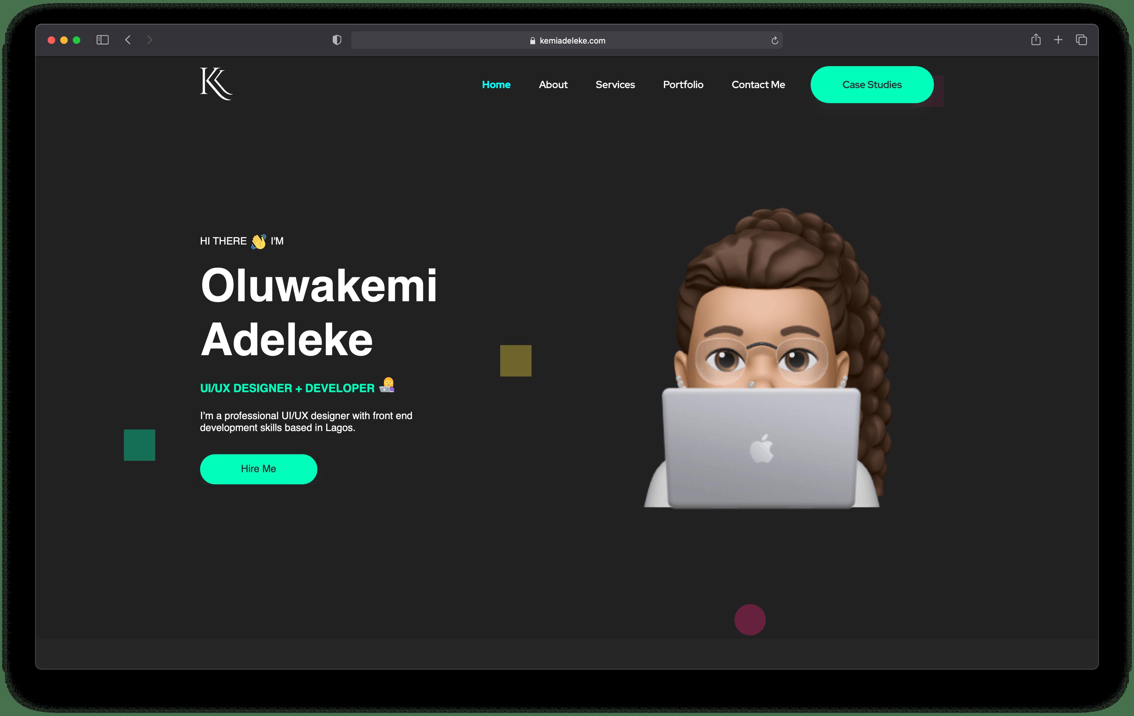 A screenshot of kemiadeleke.com website