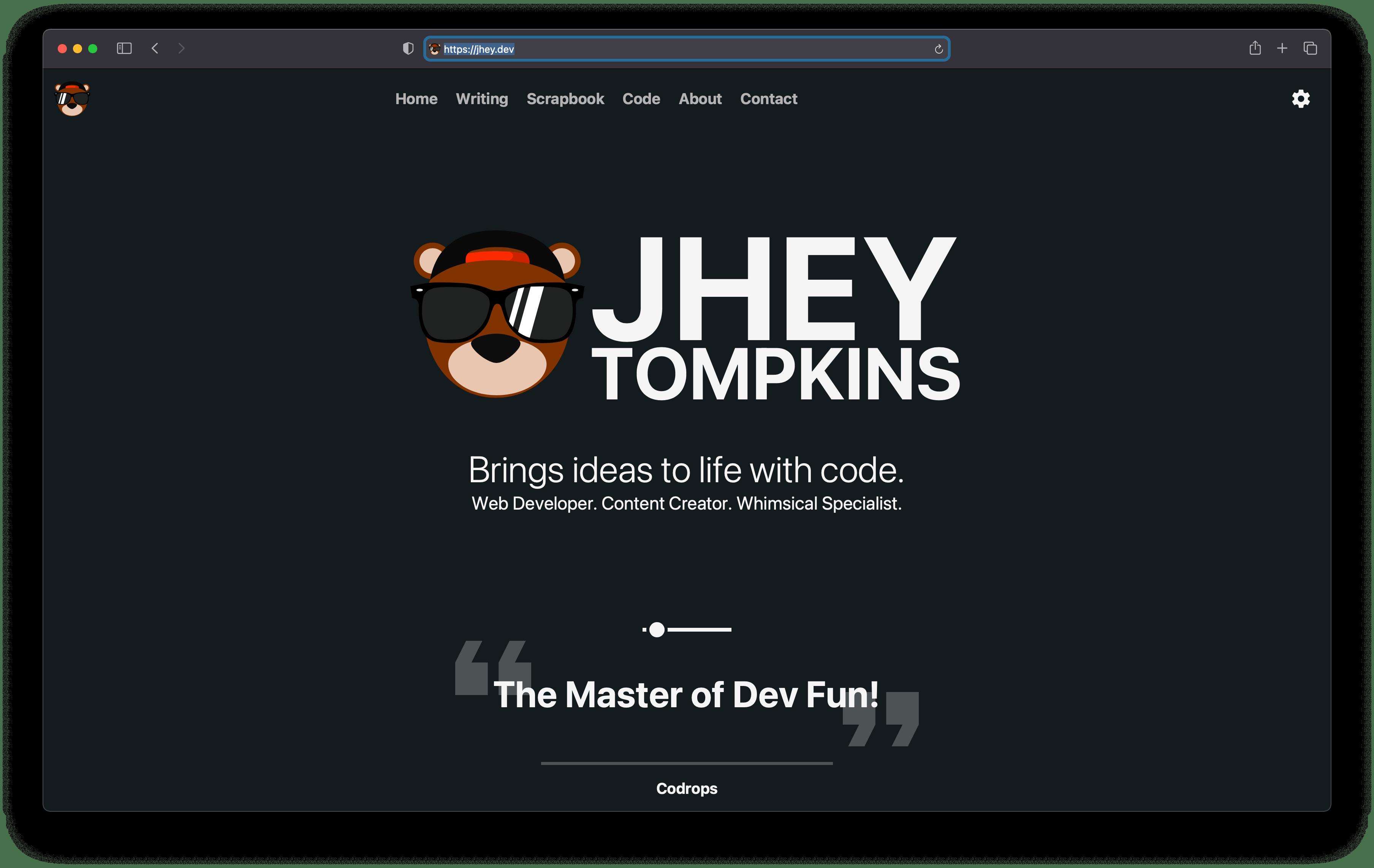 A screenshot of jhey.dev website