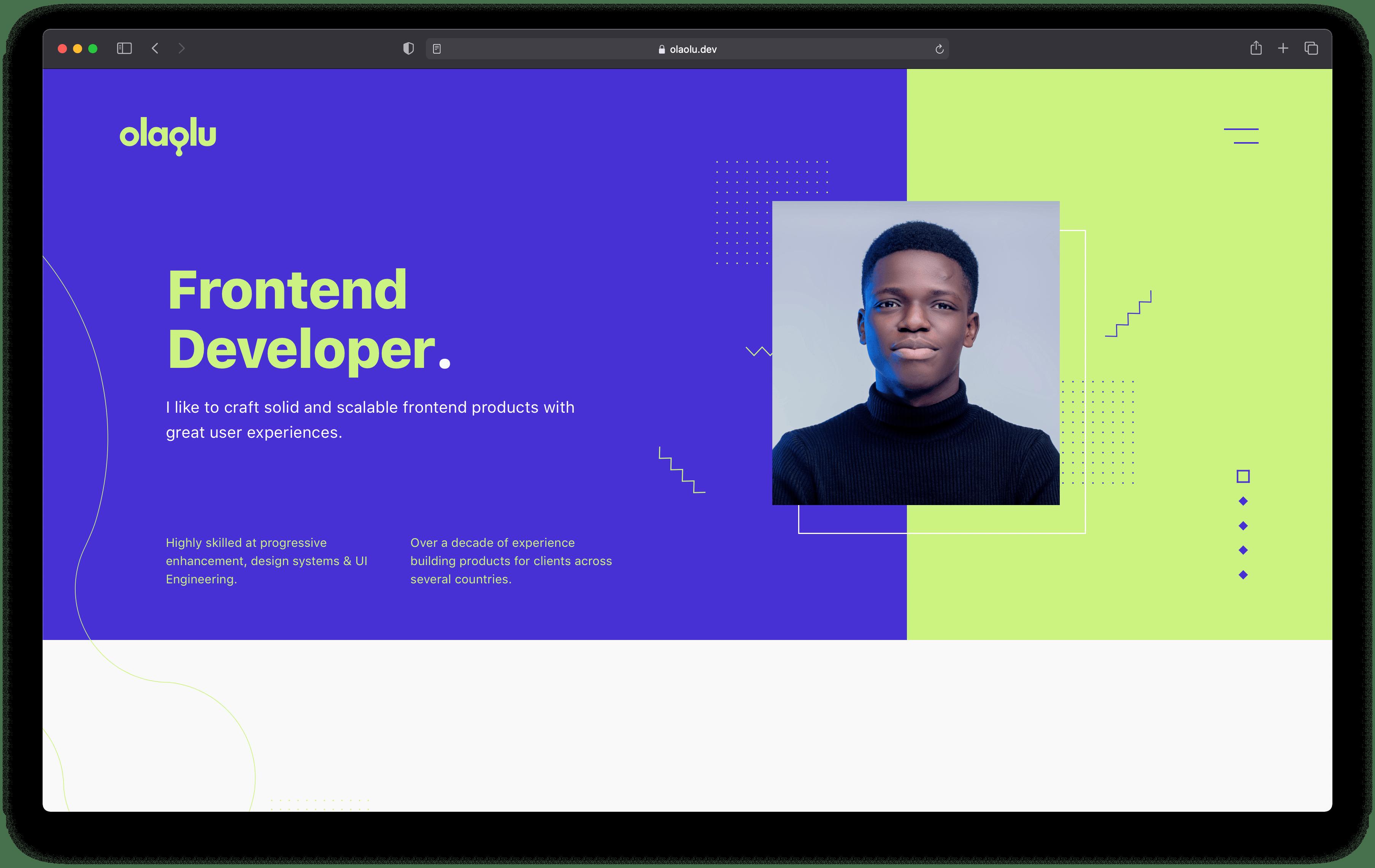 A screenshot of olaolu.dev website