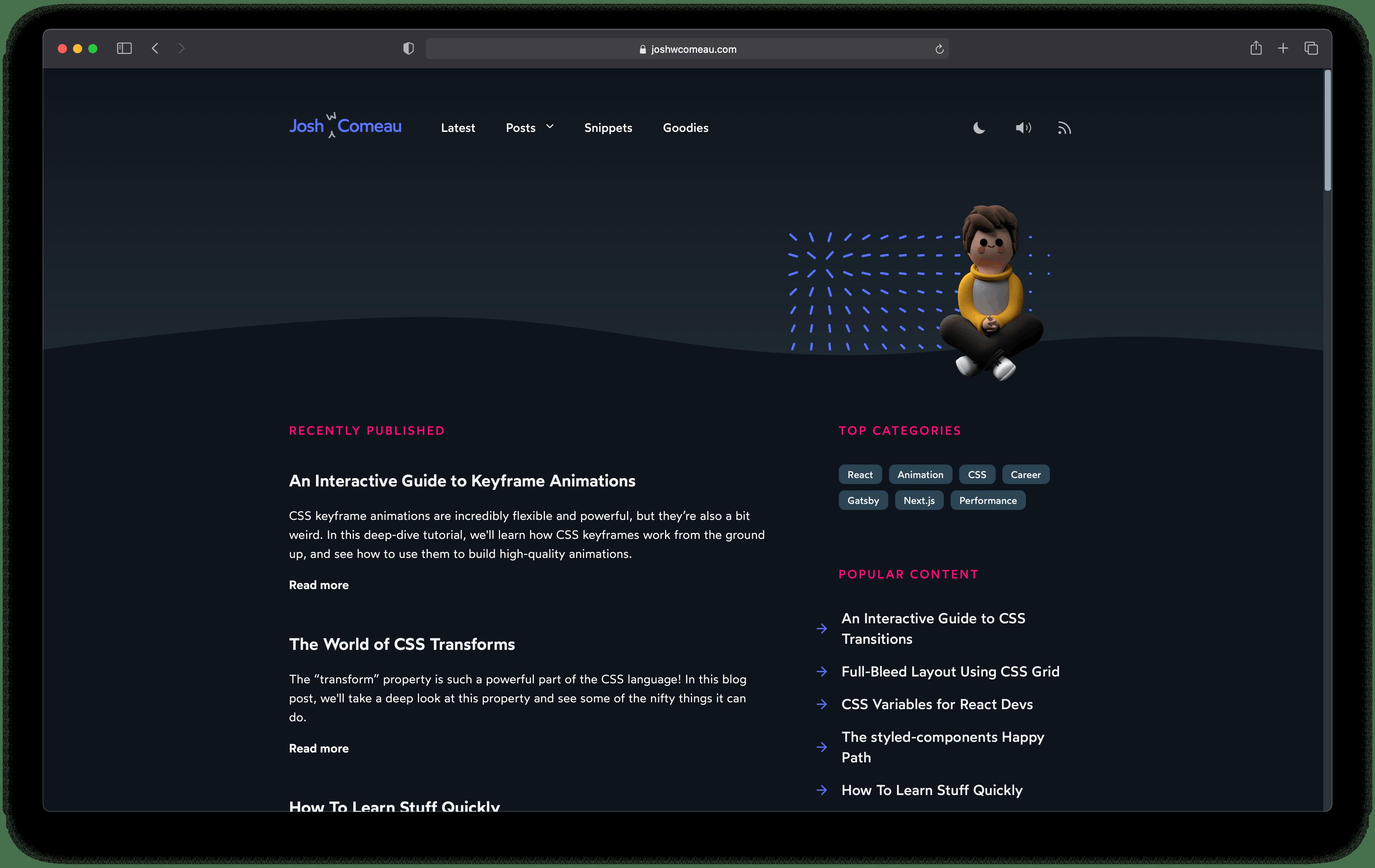 A screenshot of joshwcomeau.com website