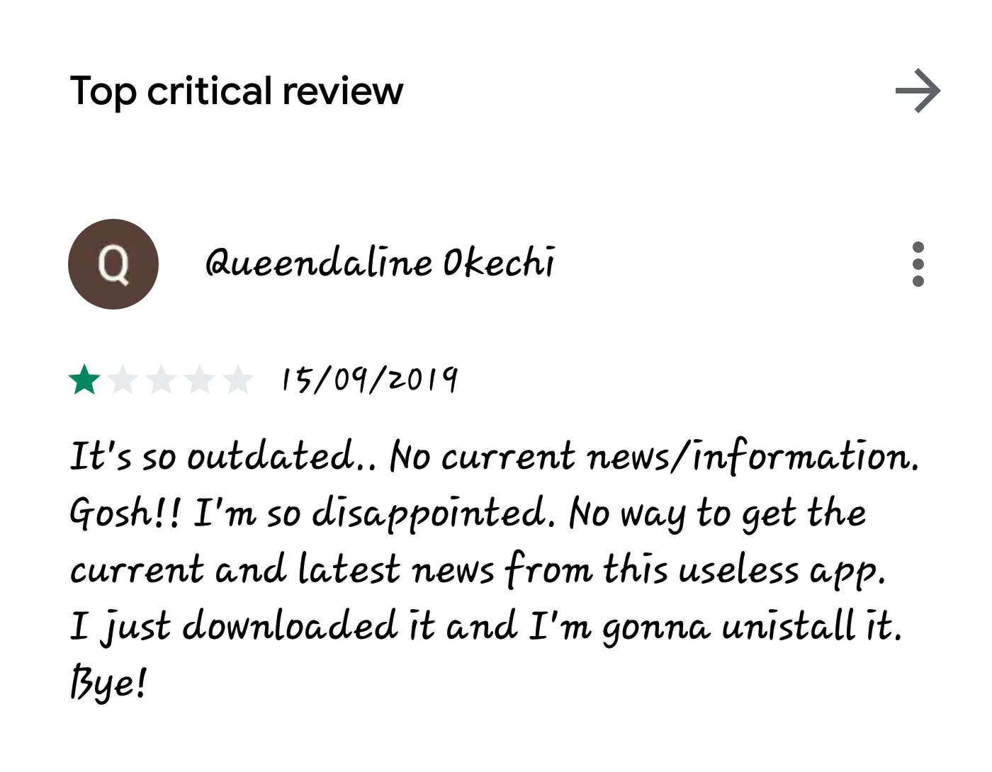 Google play store review